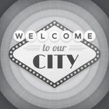 Willkommen zu unserem Stadtweinlese-Hintergrundplakat Stockbilder