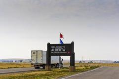 Willkommen zum Alberta-Zeichen Stockbild