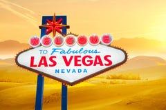 Willkommen zum Las- Vegaszeichen Stockbild