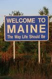 Willkommen zum Maine-Zeichen Stockfotos