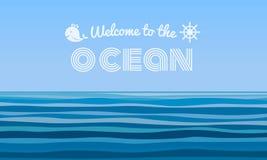 Willkommen zum Ozeantext auf Hintergrundvektordesign der Wellen des blauen Wassers abstraktem stock abbildung