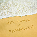 Willkommen zum Paradies Stockbilder