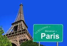 Willkommen zum Paris-Zeichen Stockfotografie