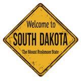 Willkommen zum rostigen Metallschild South- Dakotaweinlese Lizenzfreies Stockbild