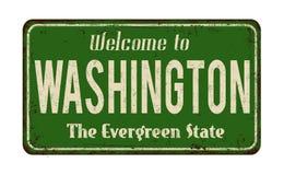 Willkommen zum rostigen Metallschild Washington-Weinlese Stockfotografie