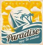 Willkommen zum tropischen Paradiesweinlese-Plakatdesign stock abbildung