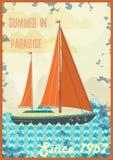 Willkommen zum tropischen Paradiesweinlese-Plakatdesign Stockfoto