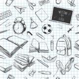 Willkommen zurück zu nahtlosem Muster des Schulvektors Der Kompaß und der Winkelmesser Bücher, Notizbuch, Schreibheft, Rucksack,  lizenzfreie abbildung