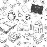 Willkommen zurück zu nahtlosem Muster des Schulvektors Hand gezeichnete Elemente Der Kompaß und der Winkelmesser Bücher, Notizbuc lizenzfreie abbildung