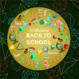 Willkommen zurück zu Schulbuntem Hintergrund Stockfotografie