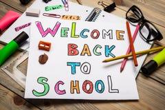 Willkommen zurück zu Schule Stockbild