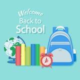 Willkommen zurück zu Schule Bildung im Schulkonzepthintergrund Stockbilder
