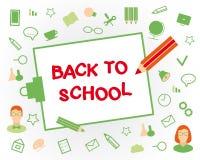 Willkommen zurück zu Schule Flache Designgegenstände auf a Stockfotos