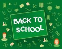 Willkommen zurück zu Schule Flache Designgegenstände auf a Stockfoto