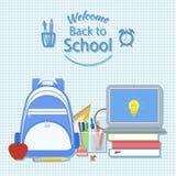 Willkommen zurück zu Schule Kreativitäts- und Wissenschaftskonzepthintergrund Lizenzfreies Stockfoto