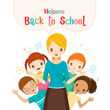 Willkommen zurück zu Schule, Lehrer, Student And Icons Lizenzfreie Stockfotografie