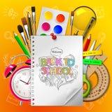 Willkommen zurück zu Schule mit Versorgungen kritzeln auf gelbem Hintergrund, Illustration lizenzfreie stockfotos