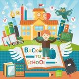 Willkommen zurück zu Schule Nette Schulkinderschablonenfahne Jungenschüler und Studienausrüstung nahe Schulgebäude karikatur Stockbilder