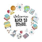 Willkommen zurück zu Schulevektorillustration Bunte Skizze von s stock abbildung