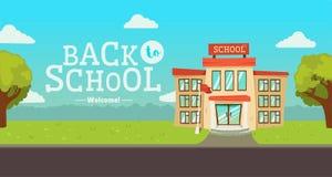 Willkommen zurück zu Schulfahne Straße mit pädagogischem errichtendem Äußerem stock abbildung