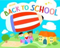 Willkommen zurück zu Schulillustration Stockfoto