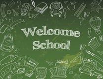 Willkommen zurück zu Schulklassenzimmer liefert Notizbuch-Gekritzel lizenzfreie abbildung