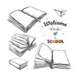 Willkommen zurück zu Schulkonzept, gezeichnete Illustration des Vektors Hand Tafelbeschriftung typographie Laptop- und Blinkenleu stock abbildung