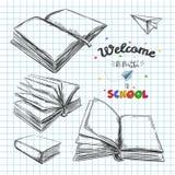 Willkommen zurück zu Schulkonzept, gezeichnete Illustration des Vektors Hand typographie Laptop- und Blinkenleuchte Bücher vektor abbildung
