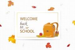 Willkommen zurück zu Schulkonzept Karikatur-Schulrucksack mit Schulbriefpapier, Bildungsversorgungen, Apfel, Herbstlaub stock abbildung