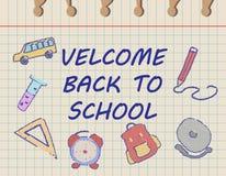 Willkommen zurück zu Schulkonzept mit Schulbedarfikonen entwerfen Schablone für Fahne, Plakat Ausführliche vektorabbildung stock abbildung