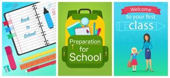 Willkommen zurück zu Schulkonzeptschablone Schulausrüstungsnotizbuch, -rucksack und -Lehrerin mit Schülerin scherzen vektor abbildung
