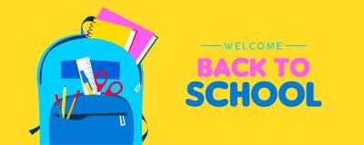 Willkommen zurück zu Schulnetzfahne des Kinderrucksacks lizenzfreie abbildung