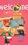 Willkommen zurück zu Schulplakat mit dem Schulbus und Kindern, die am Anfang des Jahres sich grüßen Stockfotografie