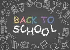 Willkommen zurück zu Schulplakat mit den Gekritzeln, gut für Textilgewebedesign, Packpapier und Websitetapeten vektor abbildung