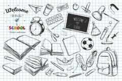 Willkommen zurück zu Schulvektorsammlung Hand gezeichnete Elemente Der Kompaß und der Winkelmesser Bücher, Notizbuch, Schreibheft vektor abbildung