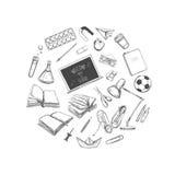 Willkommen zurück zu Schulvektorsammlung Hand gezeichnete Elemente Der Kompaß und der Winkelmesser Bücher, Notizbuch, Schreibheft lizenzfreie abbildung