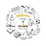 Willkommen zurück zu Schulvektorsammlung Hand gezeichnete Elemente Der Kompaß und der Winkelmesser Bücher, Notizbuch, Schreibheft stock abbildung