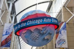 Willkommen zur Chicago-Automobilausstellung stockfotografie