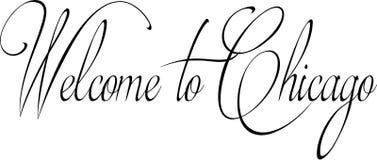 Willkommen zur Chicago-Textzeichenillustration Lizenzfreies Stockbild