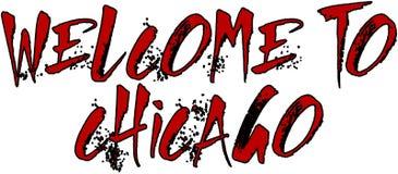 Willkommen zur Chicago-Textzeichenillustration Lizenzfreie Stockfotos