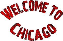 Willkommen zur Chicago-Textzeichenillustration Stockfoto