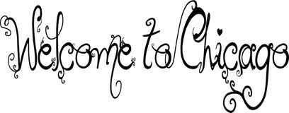 Willkommen zur Chicago-Textzeichenillustration Lizenzfreies Stockfoto