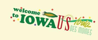 Willkommen zur Iowa-Zusammenfassungsfahne Stockfotografie