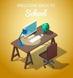 Willkommen zur isometrischen Vektorillustration des Schulekonzeptes Arbeitsplatz für den Studenten Besetzung am Computer Eine Tab Lizenzfreie Stockbilder