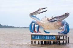 Willkommen zur Kep-Krabbenstatue, Stadtplatte, in Kambodscha-Seeküste wi Stockfotos