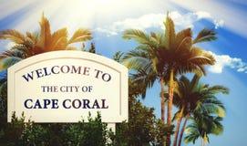 Willkommen zur Stadt der Kap-Koralle Stockfotos