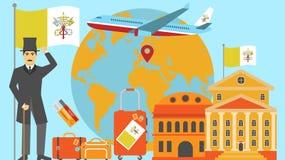 Willkommen zur Vatikanstadtpostkarte Reise- und Safarikonzept der Europa-Weltkartevektorillustration mit Staatsflagge lizenzfreie abbildung
