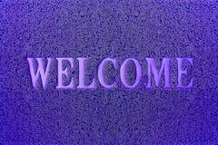 Willkommene blaue Tür-Matte Willkommener Teppich-Hintergrund Lizenzfreie Stockfotografie