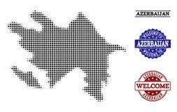 Willkommene Collage der Halbtonkarte von Aserbaidschan und von verkratzten Stempeln lizenzfreie abbildung