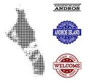 Willkommene Collage der Halbtonkarte von Bahamas - von Andros-Insel und von verkratzten Stempeln stock abbildung